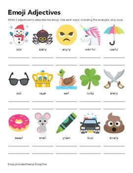 Emoji Adjective Worksheet #2