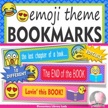 Editable Emoji Bookmarks, Shelf Markers or Desk Name Plates