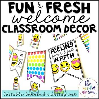 Emoji Classroom Decor {Nametags and Banner}