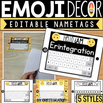Emoji Editable Name Plates, Desk Tags, Name Tags