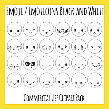 Emoji / Emoticons Black and White Clip Art Set for Commercial Use