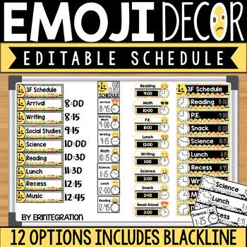 Emoji Schedule Cards: Editable