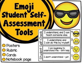 Emoji Self-Assessment Tools - Posters, Cards, & Student Re