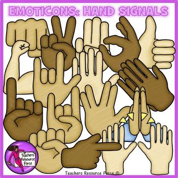 Emoticon clip art: hand signals, crayon effect clipart