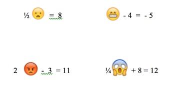 Emoji :) Variables Algebra Worksheet :P  :O  :*)