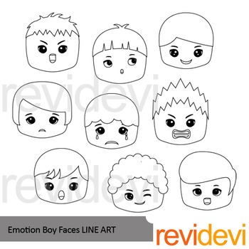 Emotion Boy Faces line art - clip art blackline