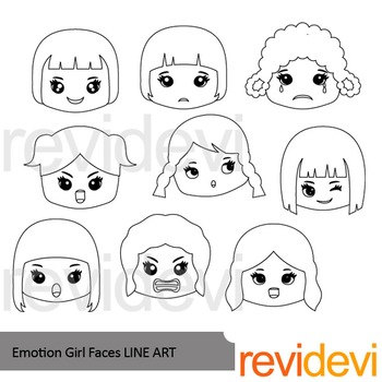 Emotion Girl Faces Line Art - clipart blackline