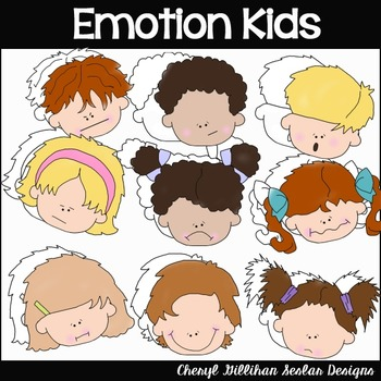 Emotion Kid faces Clipart Collection