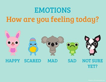 "Emotion Scale Poster ""How are you feeling today?"" 8 1/2 x 11"