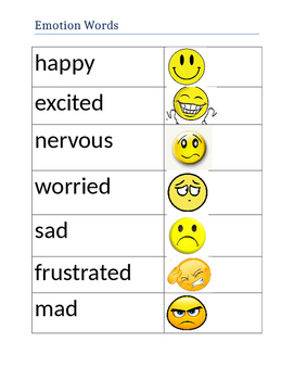Emotion Word List with Picture Support