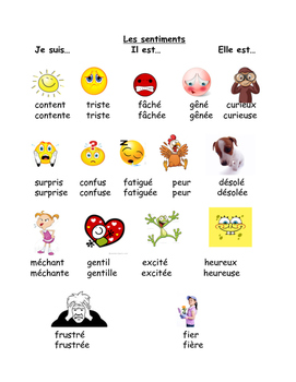 Emotions Vocabulary sheet for students FRENCH