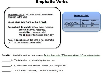 Emphatic Verbs Worksheet