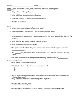 Empires Study Guide WHII.5