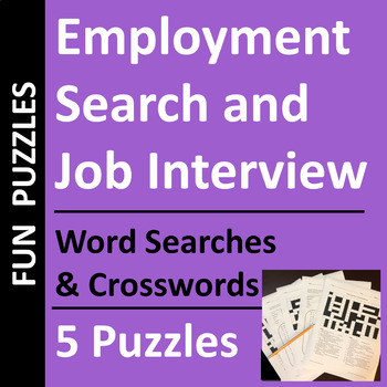 Employment Search & Job Interview Word Search and Crosswor