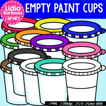 Empty Paint Cups {Clip Art for Teachers}