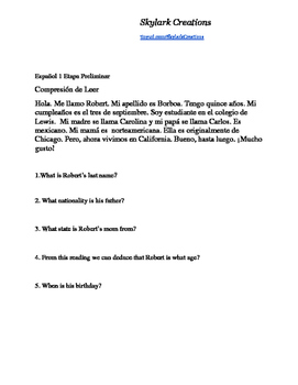 En Espanol 1 Etapa Preliminar  Short Reading Comprehension