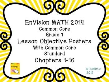 EnVision Math Grade 1 Learning Objective Vocab Posters Sunburst