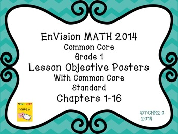 EnVision Math Grade 1 Learning Objective Vocab Posters Tea