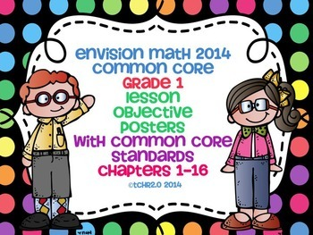EnVision Math Grade 1 Learning Objective Vocab Posters Dot