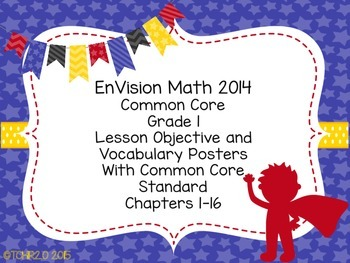 EnVision Math Grade 1 Learning Objective Vocab Posters Super Hero