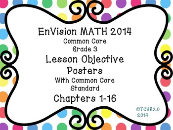EnVision Math Grade 3 Learning Objective Vocab Posters Polka Dots