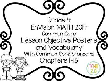 EnVision Math Grade 4 Learning Objective Vocab Posters Pri