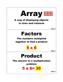 EnVision Math Grade 4 Math Vocabulary ALL TOPICS/BLACK AND