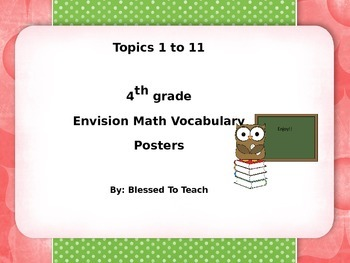 EnVision Math Posters 4th Grade Owl Theme BUNDLED Topics 1-11