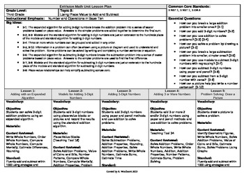 2012 Cm Core EnVision Math Third Grade Topic 3 Unit Plan-