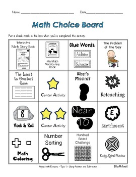 EnVision Math Centers-Topic 1- Understanding Addition and