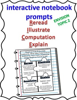 EnVision Topic 2   2nd grade R.I.C.E. Interactive Notebook
