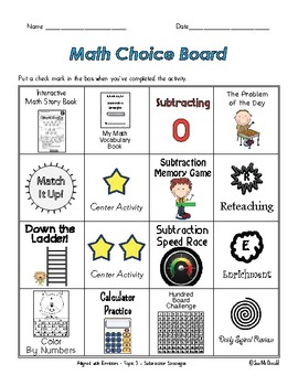 EnVision Math Centers -  Topic 3 - Subtraction Strategies
