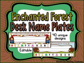 Enchanted Forest Editable Desk Name Plates