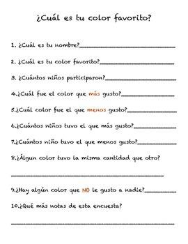 Encuesta color favorito/ survey graph favorite color spani