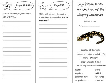 Encyclopedia Brown Slippery Salamander Trifold - Reading S