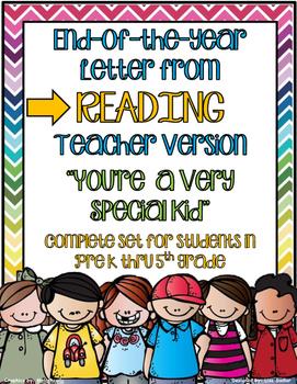End Of The Year Letter From READING Teacher - PreK thru Fi