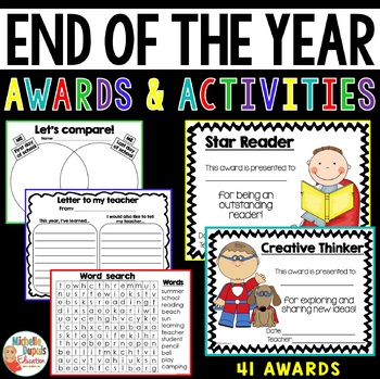 End Of Year Activities and Awards for elementary students