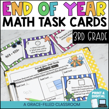 End Of Year: Math Task Cards 3rd Grade