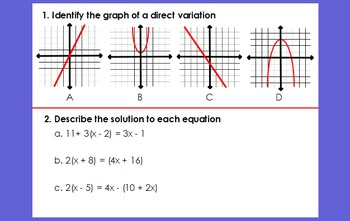 End of Course Algebra 1 SOL Review Questions
