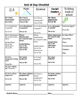 End of Day Checklist Homework Checklist