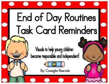End of Day Routines Task Card Reminders (Red Polka Dots)