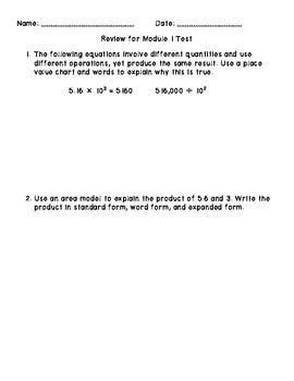 End-of-Module Review For EUREKA Math 5th Grade Module 1