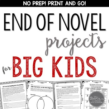 End of Novel Projects for ANY NOVEL: Grades 4-6 Common Cor