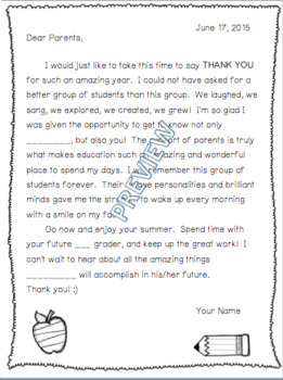 End of School Year Thank You Letter to Parents (Editable)