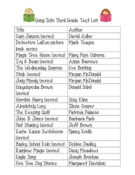 End of Second Grade Book List