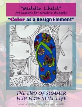 End of Summer Flip Flop Still Life Drawing