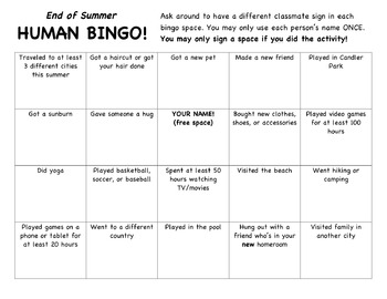 End of Summer Human Bingo