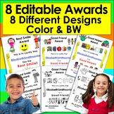 End of the Year Awards Editable for PreK, Kindergarten, Fi