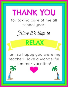 End of The Year Thank you and Relax Printable