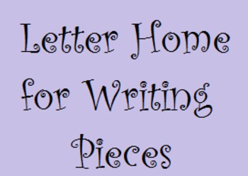 End of Writing Unit Family Letter